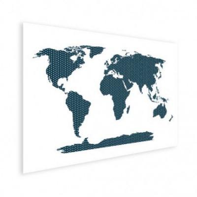 Wereldkaart Kruisjespatroon Blauw - Houten plaat 80x60