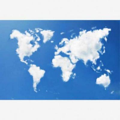 Wereldkaart Wolken - Houten plaat 120x80