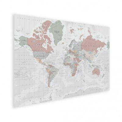 Wereldkaart Aardrijkskundig Lichte Tinten - Houten plaat 40x30