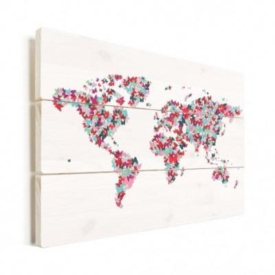 Wereldkaart Butterfly Earth - Verticale planken hout 120x80
