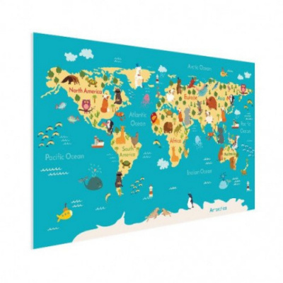 Wereldkaart Leerzaam En Leuk - Houten plaat 120x80