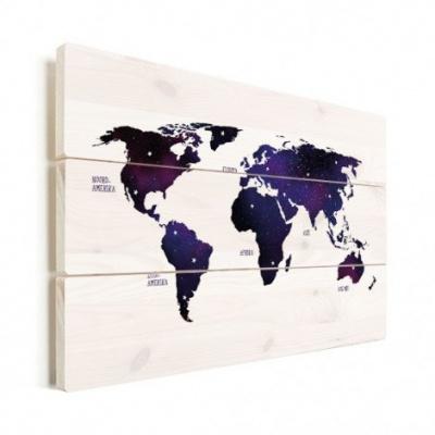 Wereldkaart Stars And Continents Paarstint - Horizontale planken hout 80x60