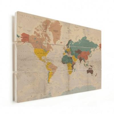 Wereldkaart Aardrijkskundig Stoffig - Verticale planken hout 40x30