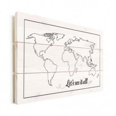 Wereldkaart Let's See It All Zwart - Horizontale planken hout 90x60