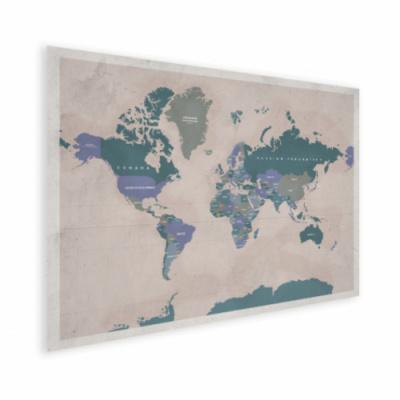 Wereldkaart Aardrijkskundig Groentinten Diagonale Strepen - Houten plaat 60x40