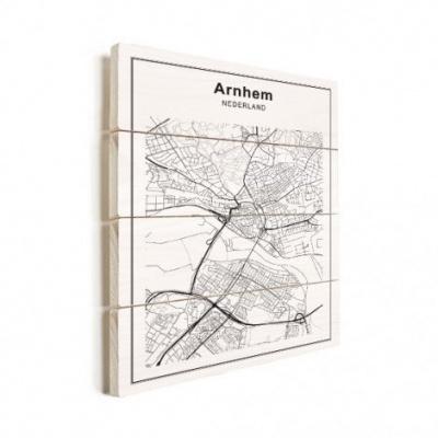 Stadskaart Arnhem - Verticale planken hout 50x70