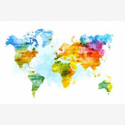 Wereldkaart Ecoline Kleuren - Houten plaat 120x80