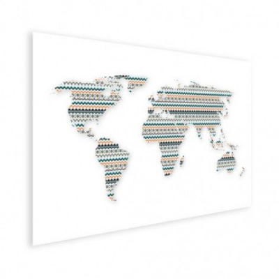 Wereldkaart Zuid-Amerikaans Patroon - Houten plaat 80x60