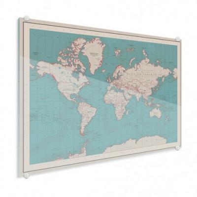 Wereldkaart Aardrijkskundig Rode Grenzen - Plexiglas 120x90