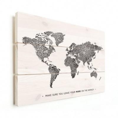 Wereldkaart Fingerprints Zwart Met Tekst - Verticale planken hout 90x60