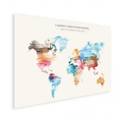 Wereldkaart I Haven't Been Everywhere Kleuren - Houten plaat 80x60