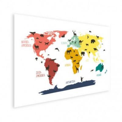 Wereldkaart Dieren Per Continent Kleuren - Houten plaat 120x80