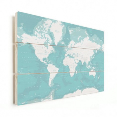 Wereldkaart Pastel Zee Winter - Verticale planken hout 120x80