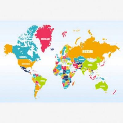 Wereldkaart Grote Landnamen - Houten plaat 40x30