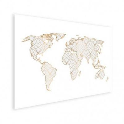 Wereldkaart Geometrische Gouden Lijnen Grijs - Houten plaat 80x60