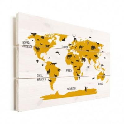 Wereldkaart Dieren Per Continent Geel - Verticale planken hout 120x80