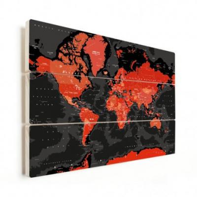 Wereldkaart Rood Land Zwart Water Apocalypse - Horizontale planken hout 40x30