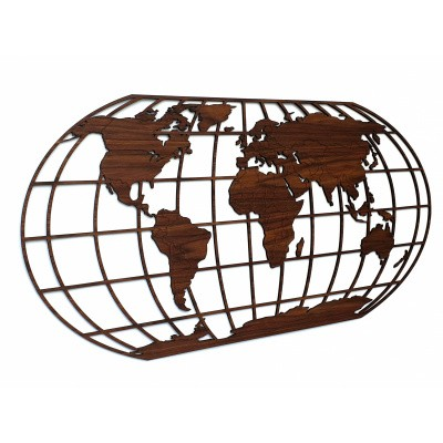 Foto van Houten Wereldkaart The Globe Dutch Walnut
