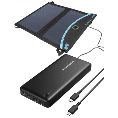 Foto van RAVPower Power Bank 26800mAh met USB Type-C + Brofish 12W Solar Panel