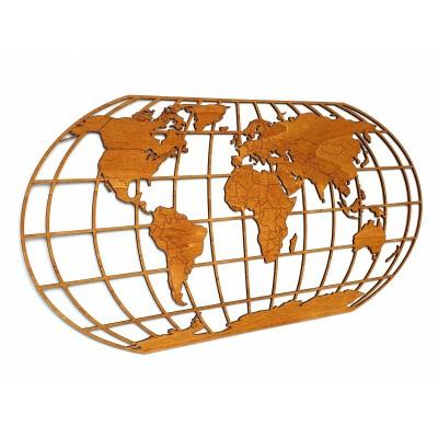 Afbeelding van Houten Wereldkaart The Globe Hunter Brown