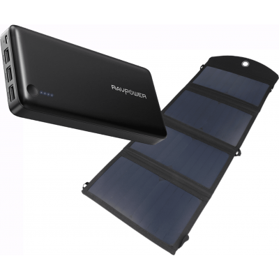 Foto van RAVPower Power Bank 26800mAh + Brofish 24W Solar Panel