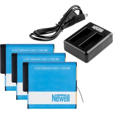Foto van Newell Triple Battery Charger Pack voor GoPro HERO5/HERO 6 Black/HERO 2018