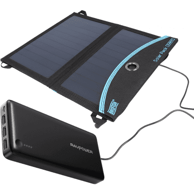 Foto van RAVPower Power Bank 26800mAh + Brofish 12W Solar Panel