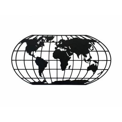 Afbeelding van Houten Wereldkaart The Globe XL Midnight Black