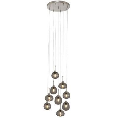 Hangl. 9-L. glas LED grijs glas E14 2485ST