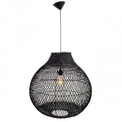 Hanglamp Doetinchem rotan zwart (peer) 60x60 510093