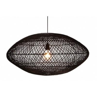 Rotan hanglamp Medemblik zwart 80cm 510086