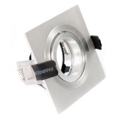 Inbouwarmatuur geborsteld aluminium vierkant 148-021