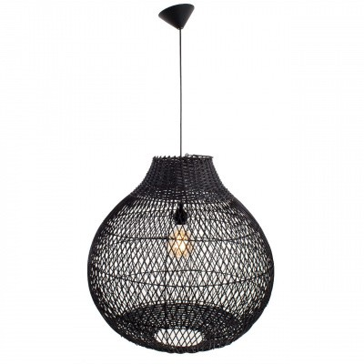 Hanglamp Doetinchem rotan zwart (peer) 40x40 510092