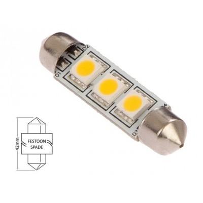 Buislamp-warm wit (3xLED) 5W 0.6W 42 x 10mm