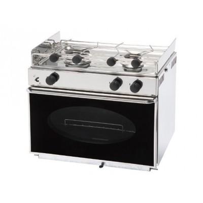 Foto van Eno One 2 pits RVS kooktoestel met geëmailleerde oven.