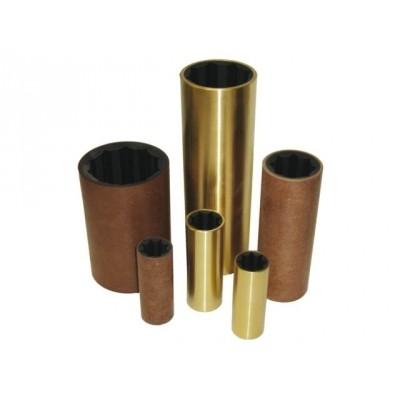 Rubberlager bronzen buitenmantel diam. inw: 45 mm diam. uitw: 65 mm Lengte: 180 mm