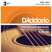 Foto van DAddario EJ15 3Pack Phosphor Bronze Extra Light Gauge 010-047