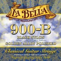 Foto van La Bella L-900-B, black nylon trebles, golden alloy polished basses