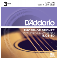 Foto van DAddario EJ26 3Pack Phosphor Bronze Custom Light 011-052