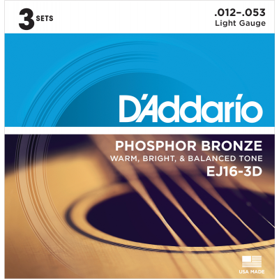 DAddario EJ16 3Pack Phosphor Bronze light 012-053