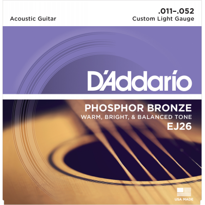 DAddario EJ26 Phosphor Bronze Custom Light 011-052